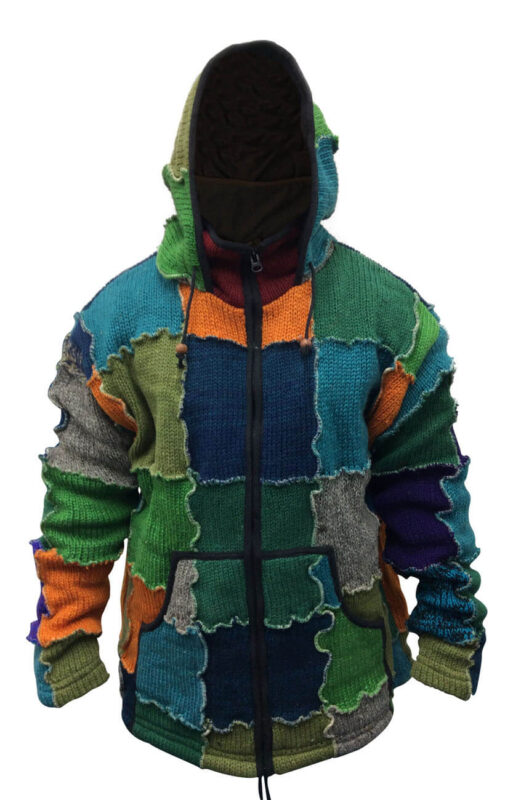 Mens Multicoloured Wool Patch Winter Hippie Jacket