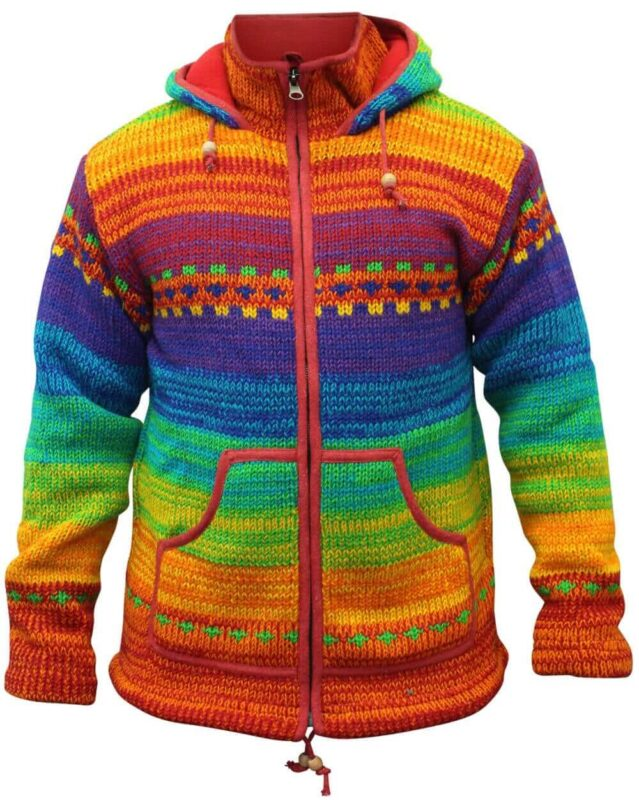 Mens High Neck Rainbow Winter Jacket