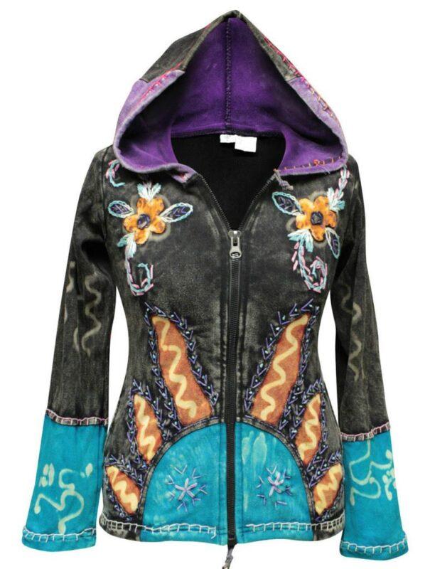 Women's Sun Flames Hippie Goth Hoodie Jacket