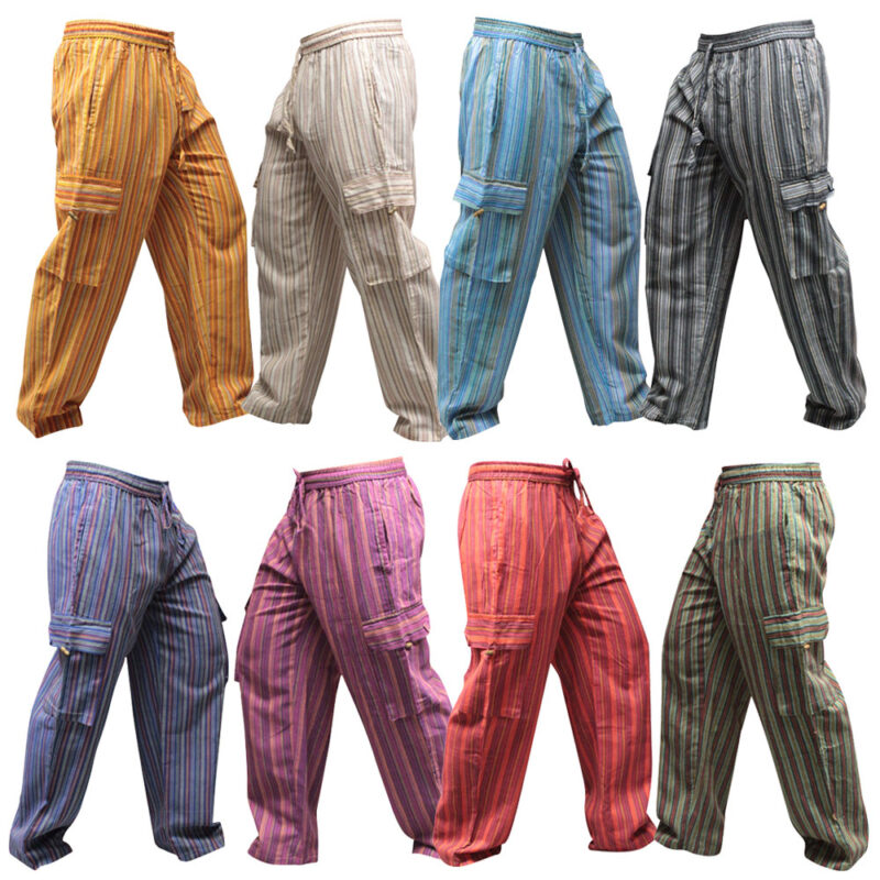 Women's Light Weight Striped Hippy Combat Trouser