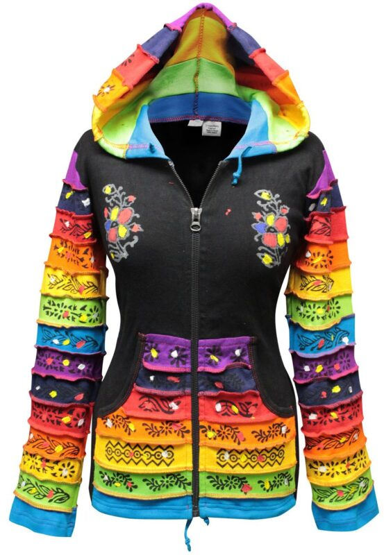 Women Rainbow Sleeved Flower Patch Hoodie