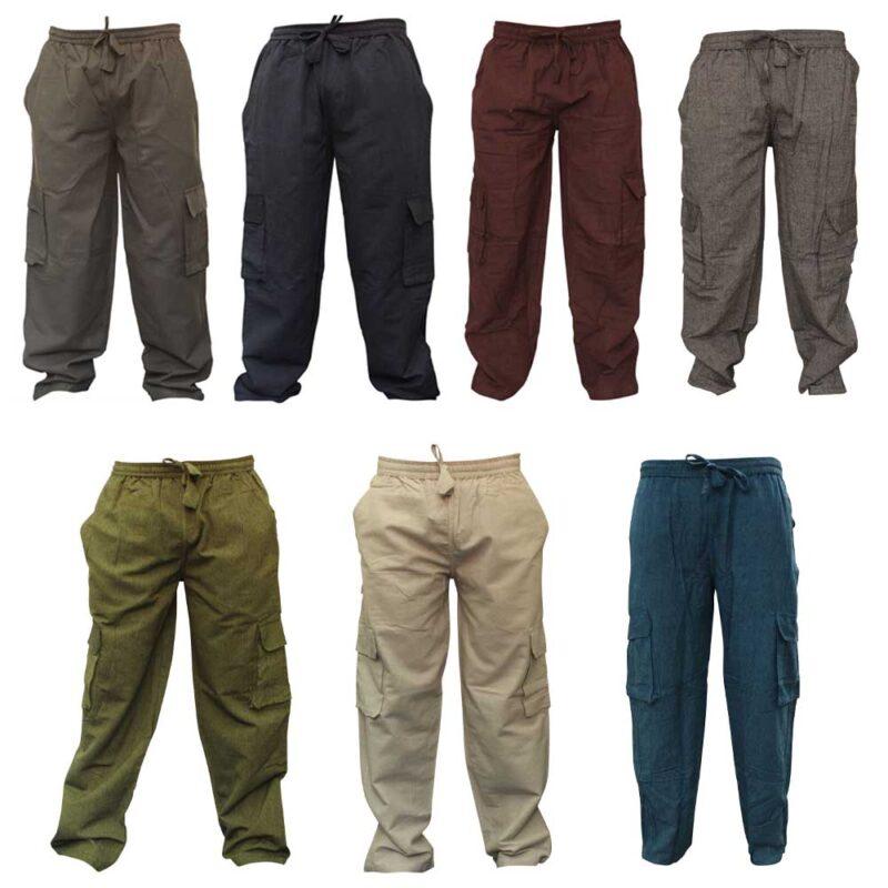 Mens Plain Hemp Hippie Combat Trousers